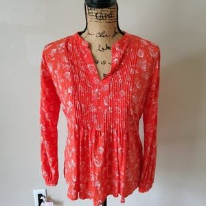 Old Navy Coral Long Sleeve Boho Blouse Size XS